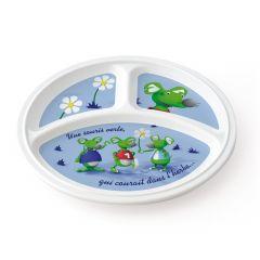 Assiette à compartiments ronde blanc mélamine Ø 21,50 cm Vaisselle Enfance Plastorex