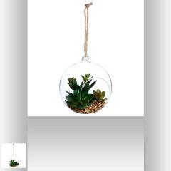 Plante artificielle + boule 14 cm