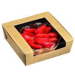 Boîte avec couvercle fenêtre carrée beige 12x12 cm Solia (50 pièces)