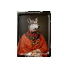 Plateau le loup rectangulaire 66 cm Portrait Ibride