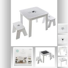 Table bac + 2 tabourets garcon blanche