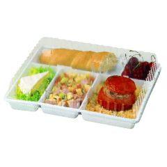 Couvercle plateau repas rectangulaire transparent plastique 26,40x32,40 cm Alphaform (25 pièces)