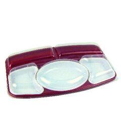 Kit plateau repas 5 compartiments rectangulaire rouge plastique 26,40x42 cm Alphaform (15 pièces)