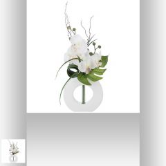 Composition orchidee vase ceramique 50 cm