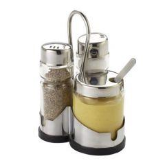 Ménagère sel/poivre/moutarde transparente 13 cm Pro.mundi