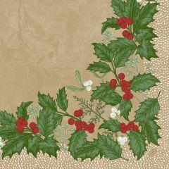 Serviettes ouate de cellulose 40x40 cm Snowy Berries Duni (50 pièces)