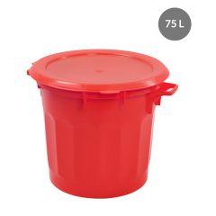 Poubelle rouge plastique 75 l Gilac