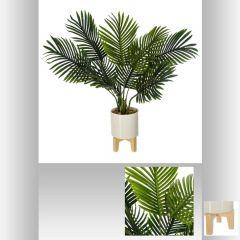 Palmier pot ceramique pied bois 72 cm
