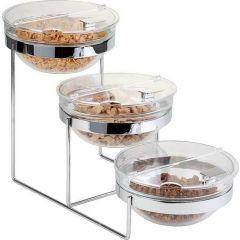 Présentoir buffet 3 bols rectangulaire gris acier 2,50 l 61 cm Aps