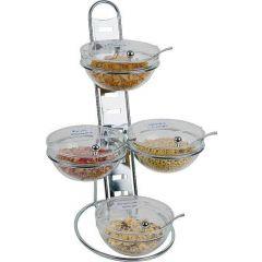 Présentoir buffet 4 bols rectangulaire gris acier 2,50 l 39 cm Aps