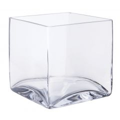 Vase carré transparent 16 cm Deco Distrib