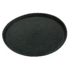 Plateau anti-dérapant rond noir plastique droit