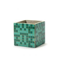 Pot marie mozaic carré vert 15 cm Serax