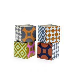 Pot marie print carré multicolore 15 cm Serax (4 pièces)
