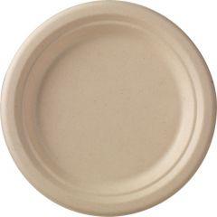 Assiette ronde marron Ø 18 cm Bagasse Duni (50 pièces)