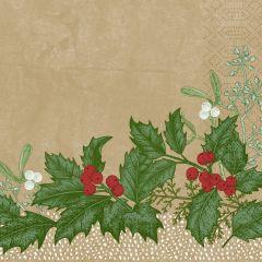 Serviettes ouate de cellulose 33x33 cm Snowy Berries Duni (250 pièces)