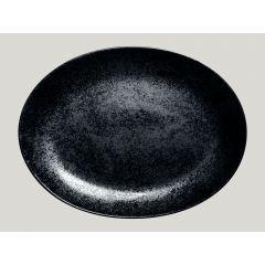 Plat ovale noir porcelaine ovale 36 cm Karbon Rak