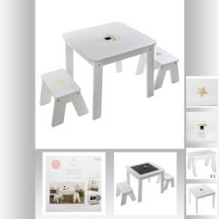 Table bac + 2 tabourets fille blanche