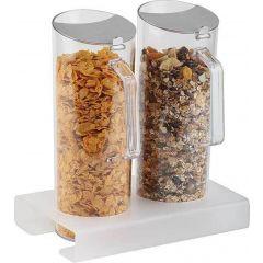 Présentoir à céréales 2 x 3 l rectangulaire gris plastique 3 l 26 cm Aps