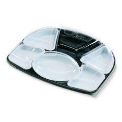 Kit plateau repas rectangulaire noir plastique 32,60x42 cm Alphaform