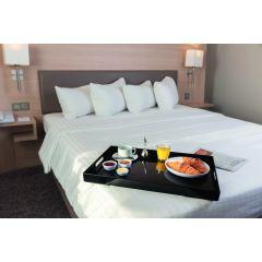 Plateau room service rectangulaire noir plastique droit Vestah Platex