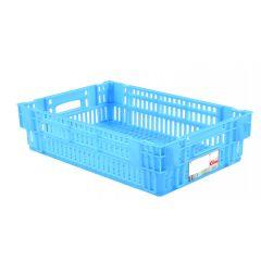 Caisse ajourée rectangulaire bleue plastique 27 l Gilac