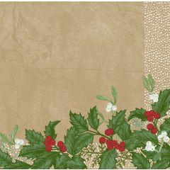Serviettes non tissé 40x40 cm Snowy Berries Duni (60 pièces)