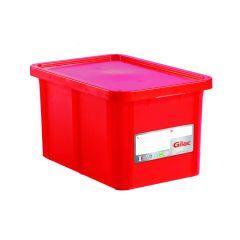 Bac gerbable rectangulaire rouge plastique 55 l Gilac