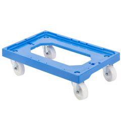 Socle 4 roues pivotantes chape acier rectangulaire bleu 41,40x61 cm Gilac