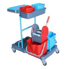 Chariot de ménage avec presse 2 seaux gris 22 l Brosserie Thomas