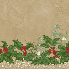 Serviettes ouate de cellulose 40x40 cm Snowy Berries Duni (250 pièces)