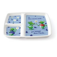 Assiette à compartiments rectangulaire blanc mélamine 20,90x24,80 cm Vaisselle Enfance Plastorex