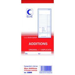 Bloc addition blanc papier 10,2x23,5 cm (10 pièces)
