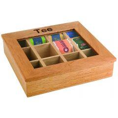 Boîte à thé rectangulaire bois 31 cm Aps