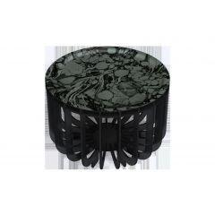 Table basse ronde gris clair Ø 46 cm 33 cm Medusa Ibride
