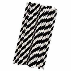 Paille noire papier Ø 6 cm 19,50 cm (25 pièces)