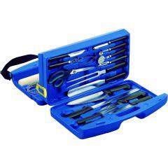 Mallette 18 pièces rectangulaire bleu 31x45 cm Deglon