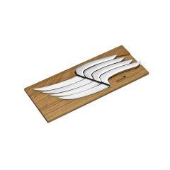 Coffret de 4 couteaux inox gris 26,10x10,40x1,70 cm Meeting Deglon