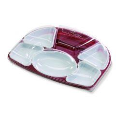 Kit plateau repas rectangulaire rouge plastique 32,60x42 cm Alphaform