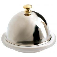 Beurrier avec cloche inox blanc porcelaine rond Les Essentiels Revol