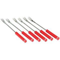 Fourchette à fondue 3 dents rouge inox (6 pièces)