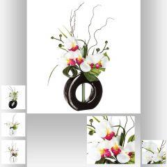 Composition orchidee vase ceramique 44 cm