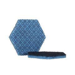 Tampon abrasif hexagonal bleu 12,70x14,60 cm 3m (15 pièces)