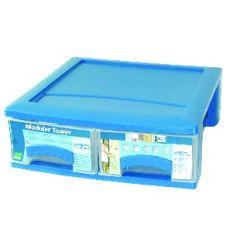Bloc clear box rectangulaire bleu plastique 39,50x40 cm Plastorex