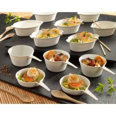 Verrine casserole eskoffié ronde blanc 56x91 mm 50 ml Solia (50 pièces)