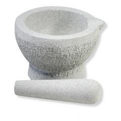 Mortier avec pilon gris granit rond