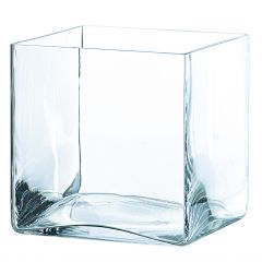 Vase carré transparent 20 cm 20 cm Deco Distrib