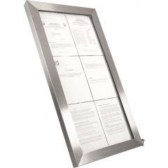 Porte-menu lumineux rectangulaire gris 6 pages led Securit