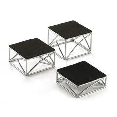 Présentoir carré noir acier 15 cm Tablecraft (3 pièces)