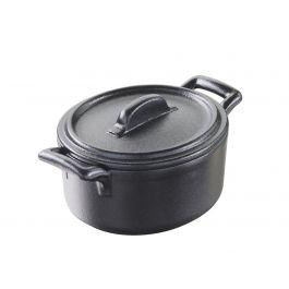 Cocotte avec couvercle ovale noire porcelaine 12,20x13,50 cm Belle Cuisine Revol